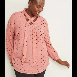 Lane Bryant tie neck silky career top polka dots
